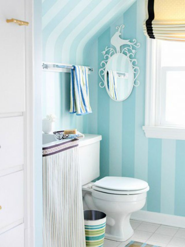 Blue Striped Bathroom Walls Painted Stripes Jpg 640 853