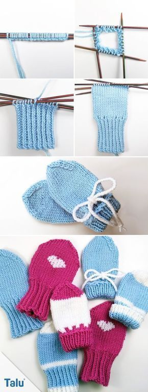 Photo of Knit baby gloves – instructions for baby mittens – Talu.de