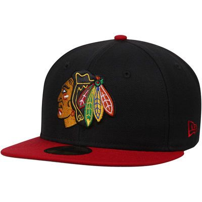 e4347f9849dfe Chicago Blackhawks New Era 2-Tone 59FIFTY Fitted Hat - Black Red ...