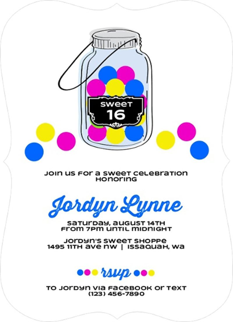 Retro Gumball Sweet Sixteen Birthday Invitation Design Sweet 16th ...