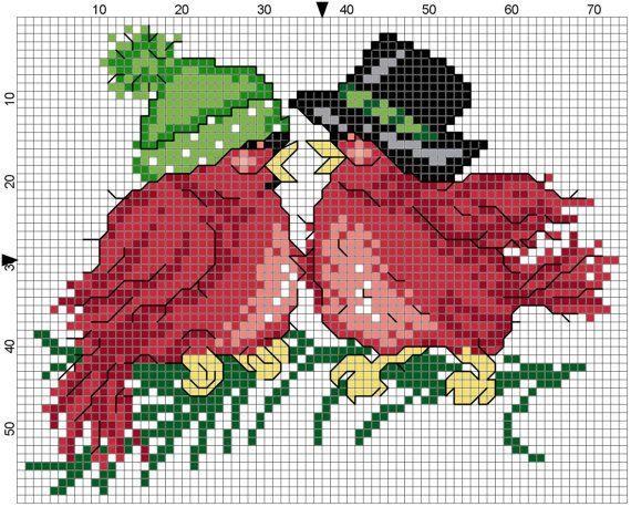 Redbird Couple by Stitchluv on Etsy