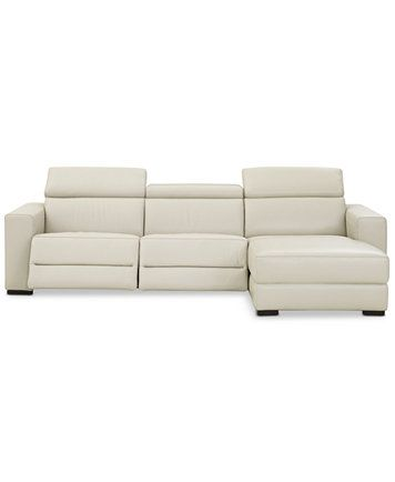 Nevio 115 3 Pc Leather Sectional Sofa With Chaise 2 Power