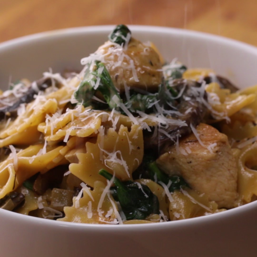 One-Pot Creamy Chicken Marsala Pasta Recipe by Tas
