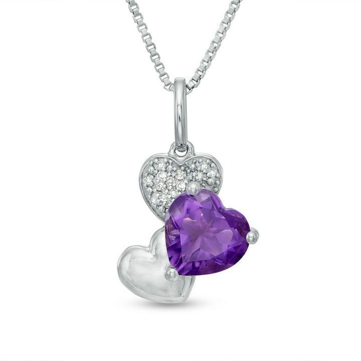 Zales Heart-Shaped Amethyst and Diamond Accent Three Heart Pendant in 10K White Gold kKqjVNHOvp