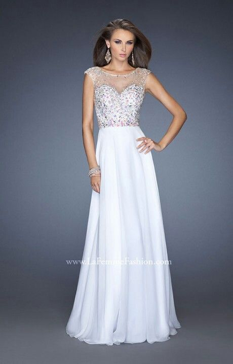 Bedazzled Top And Simple Flowy Bottom Gorgeous Long Formal Dresses