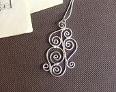 Silver Spiral Pendant Wire Wrapped Pendant Hammered Spiral Silver Hammered Pendant Silver Wire Wrapped Jewelry