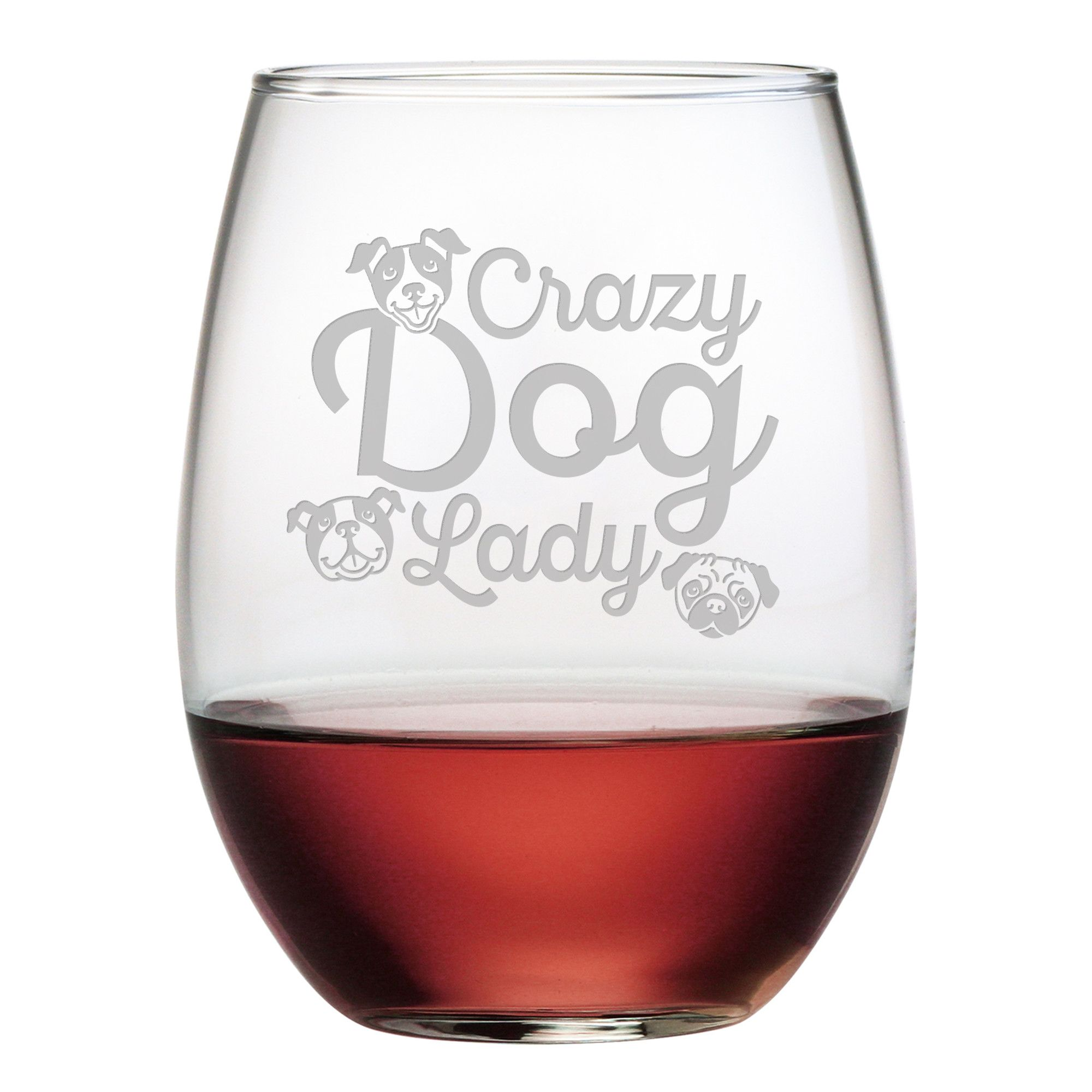 Crazy Dog Lady 21 Oz Stemless Wine Glass Wine Glass Wine Glass Set Stemless Wine Glass