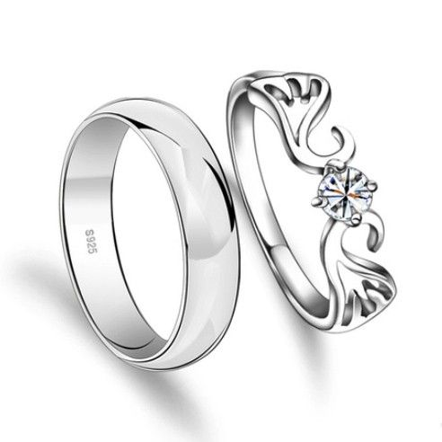 Engravable Angel Wings Mens Women Promise Rings Set
