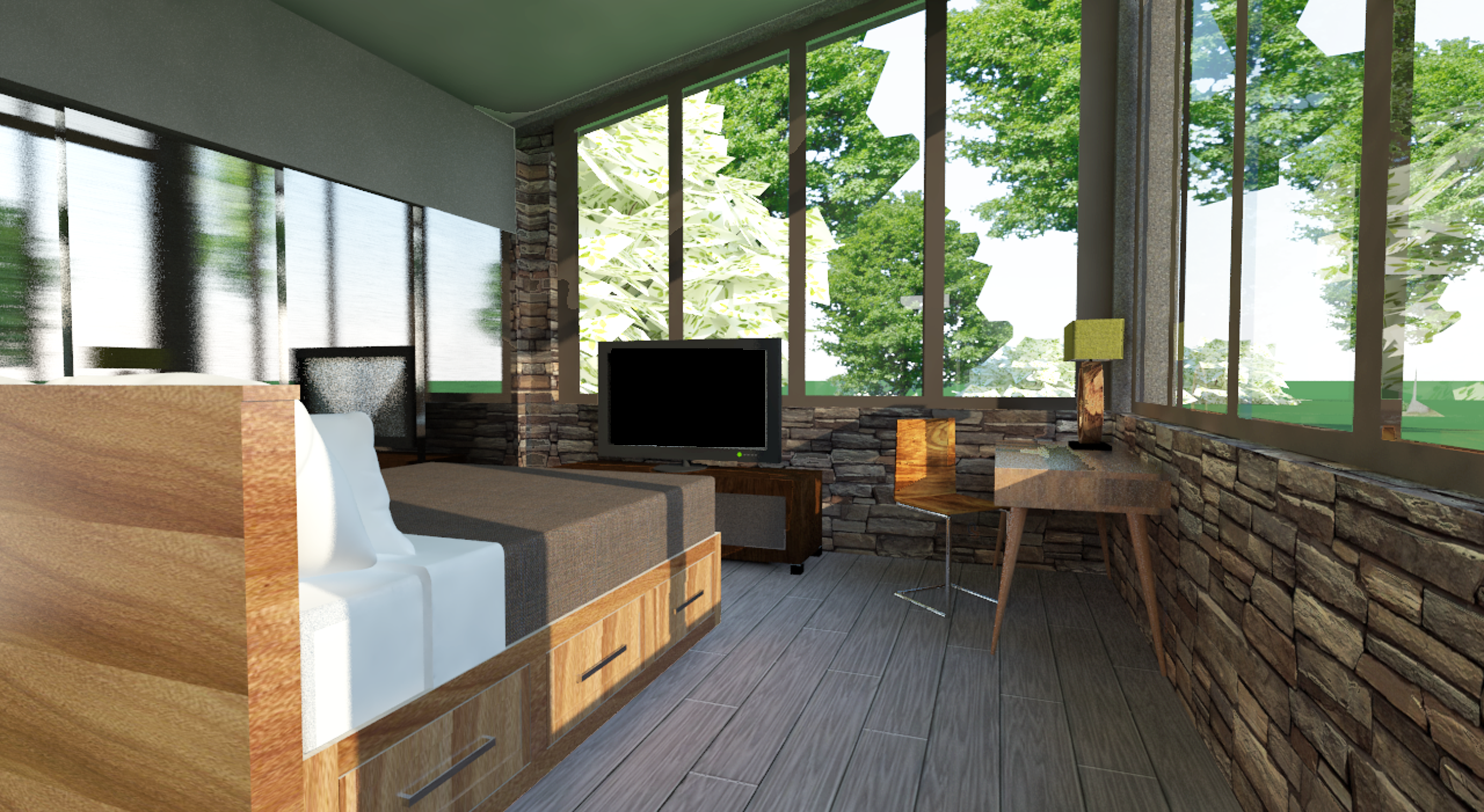Tiny house project alternate view of bedroom rendered with vray 2 0 for