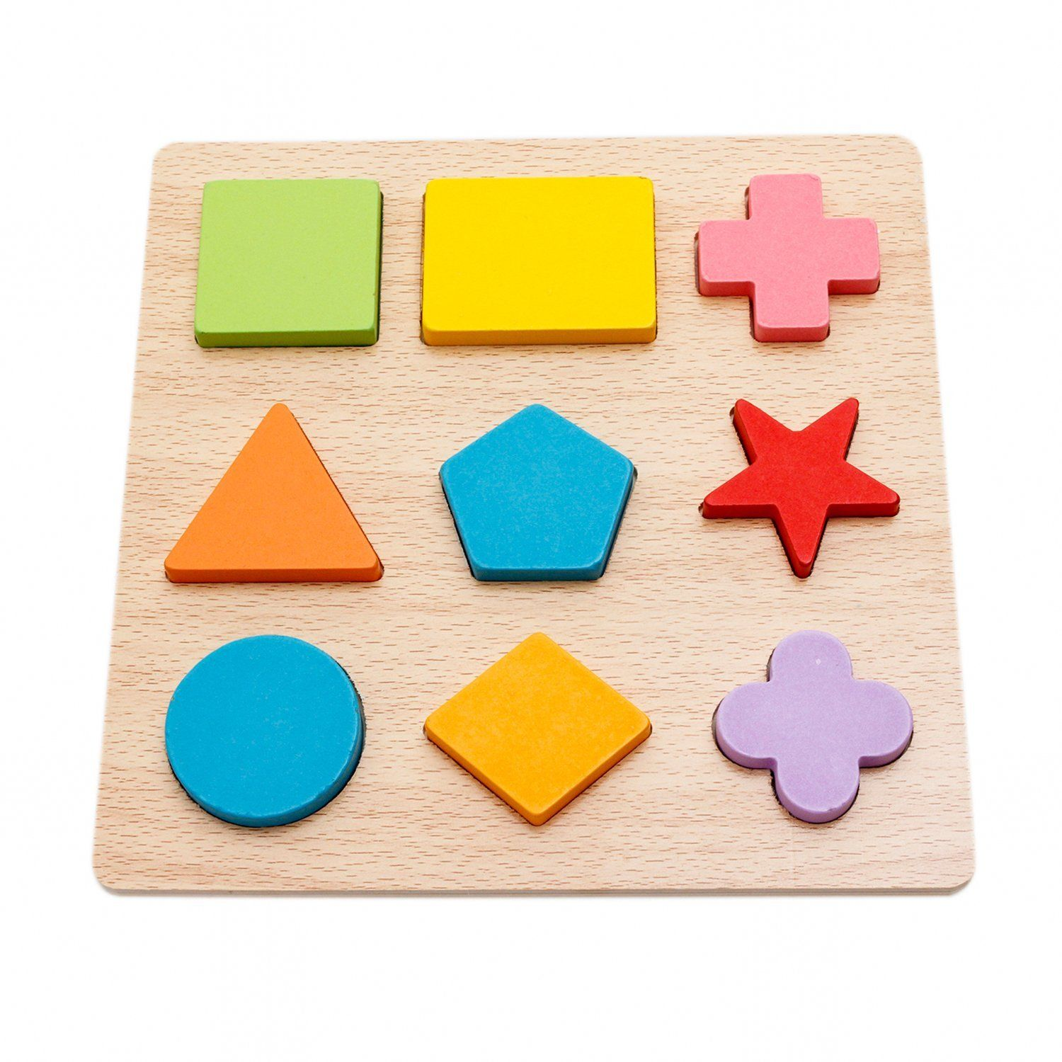 Amazon Lewo Wooden Geometric Chunky Puzzles Sorting