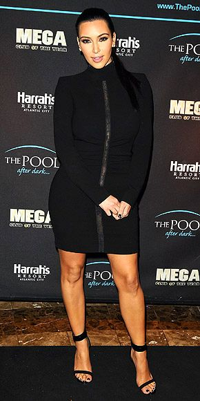 fdca2ffffc7 Kim Kardashian - Black Long-Sleeved Turtleneck Dress