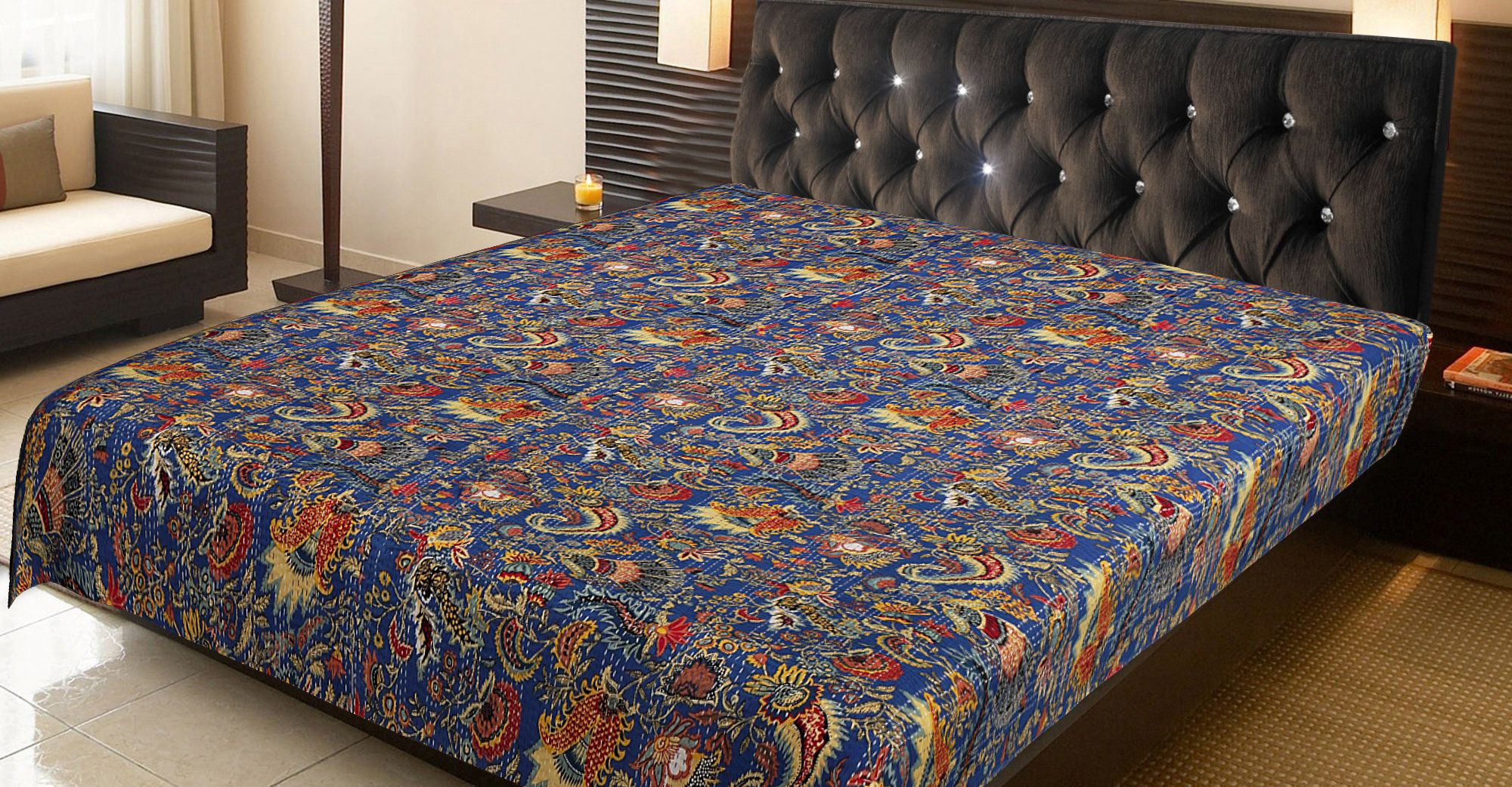 This Beautiful Quilt Blanket Is Made By Women Artisans In Etsy In 2020 Kantha Quilt Queen Beautiful Quilts Quilt Blanket