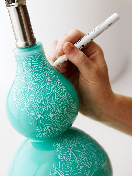 Decorate lampshade base with Doodles        Draw simple spirals and interlocking paisley or flower patterns for an intricate look. Start at the top and work your way down for best results.