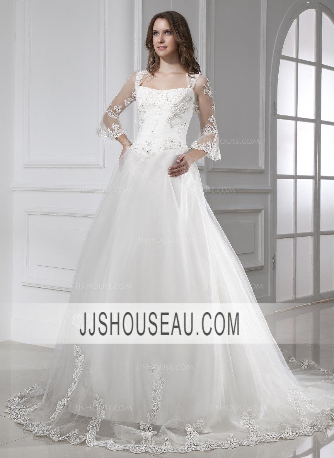 sleeves church satin tulle square neckline ivory wedding dress