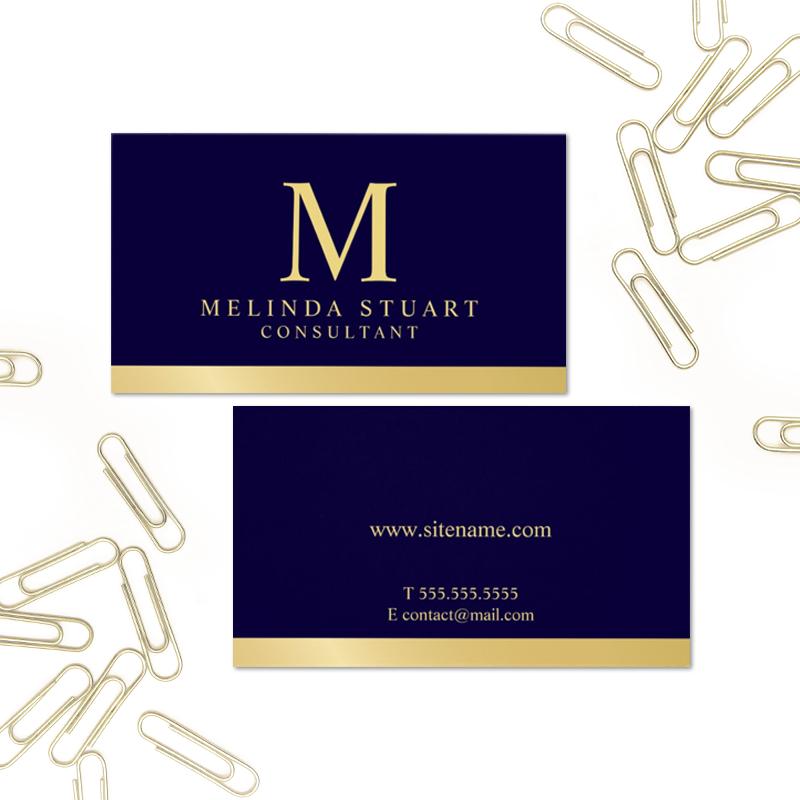 Navy Blue And Gold Elegant Monogram Business Card Zazzle Com Gold Logo Branding Cards Business Cards