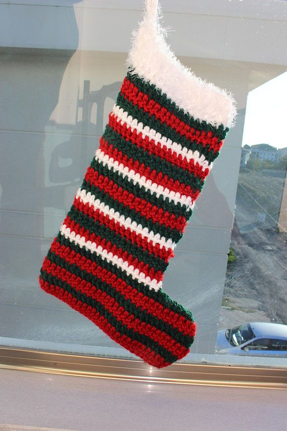 crocheted christmas stocking knit christmas stocking striped - Striped Christmas Stockings
