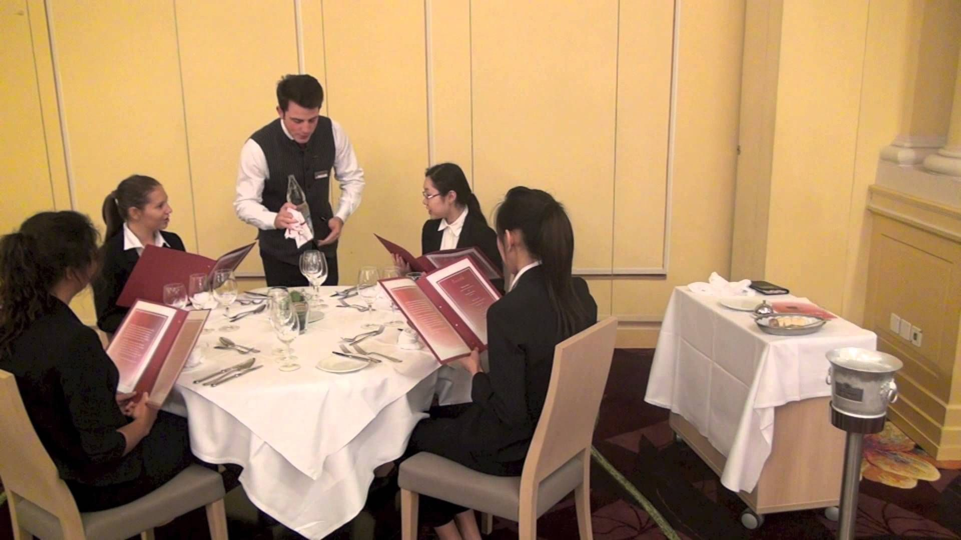 fine dining proper table service. table setup and sequence of service fine dining proper