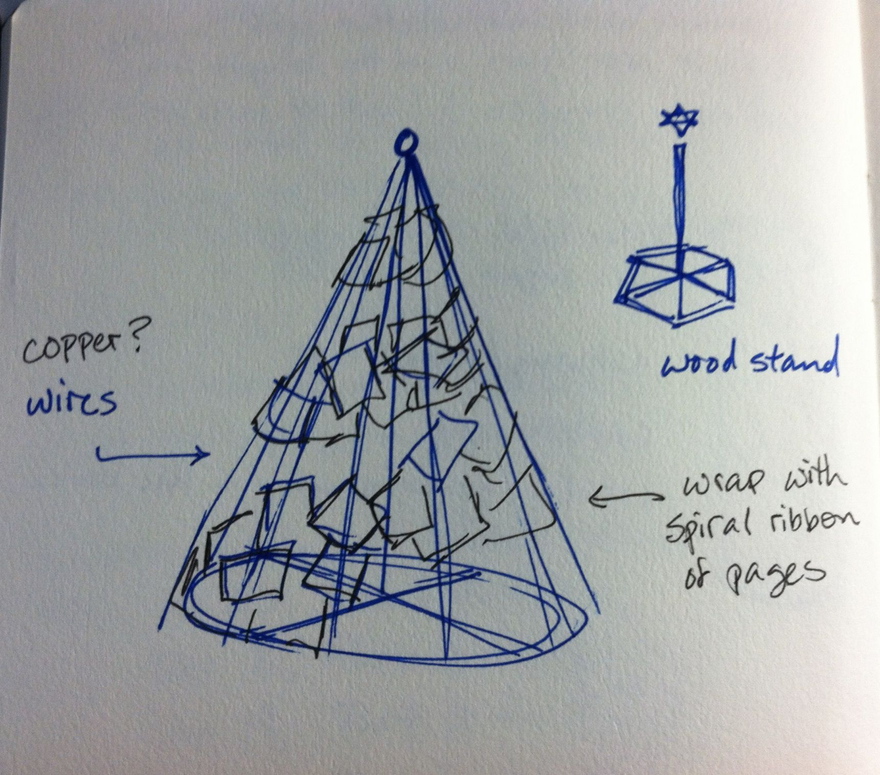 Sketch for stage prop. Christmas tree - wire frame and book page ...