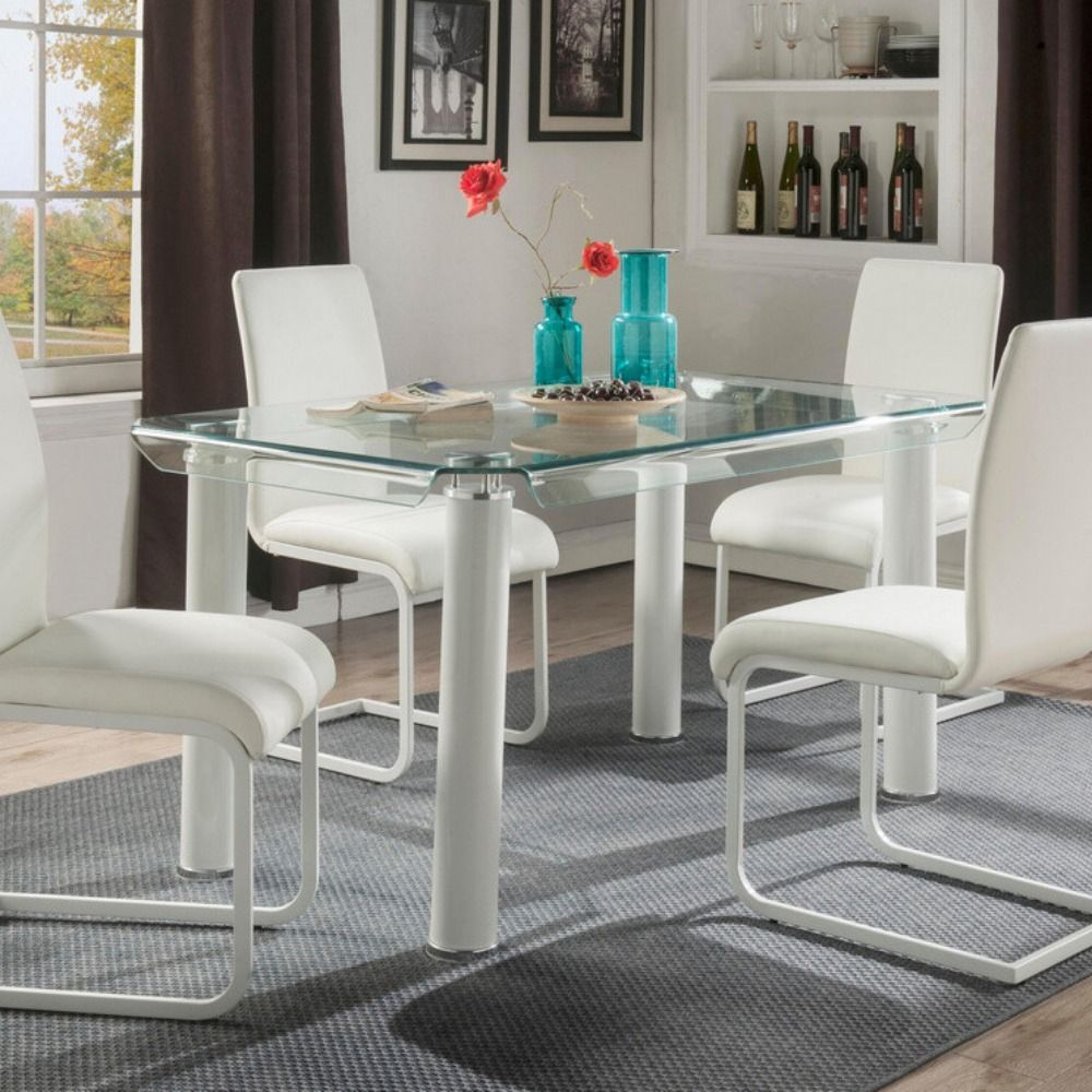 Gordias Clear Bend Glass White Metal Dining Table By Acme 197 00 Dining Table Metal Dining Table Table