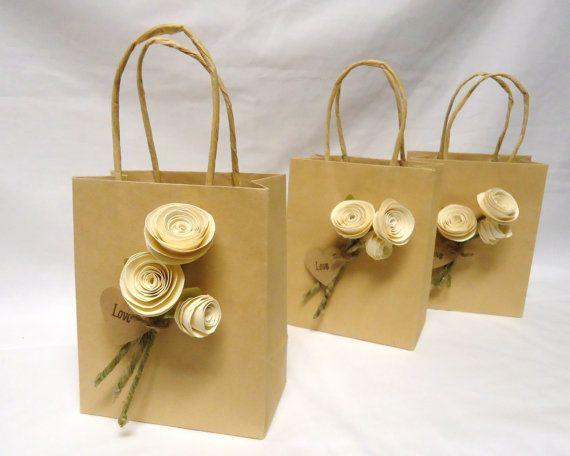 Wedding favor bags. wedding gift bags. gift bags. Paper rose wedding favor. Ivory roses. Wedding favors