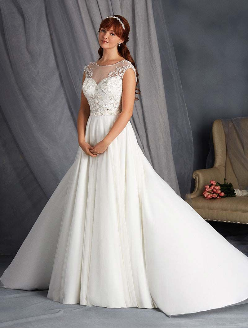 Dramatic embellished wedding dress with a circle skirt from Alfred ...