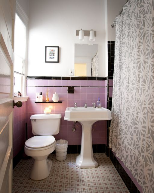 Bathroom Tiles Colors Small Bathrooms Wonderful Purple Bathroom Tiles Colors Small Bathrooms: Currently Have Ugly Pink Tiles In Bathroom But Like The Idea Of Sprucing The Look Up With The