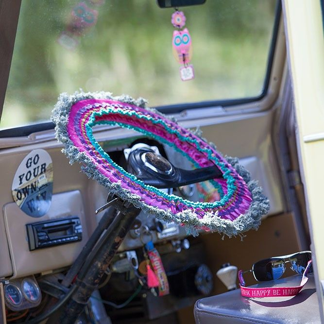 Bright, colorful fringed steering wheel covers make driving more fun!