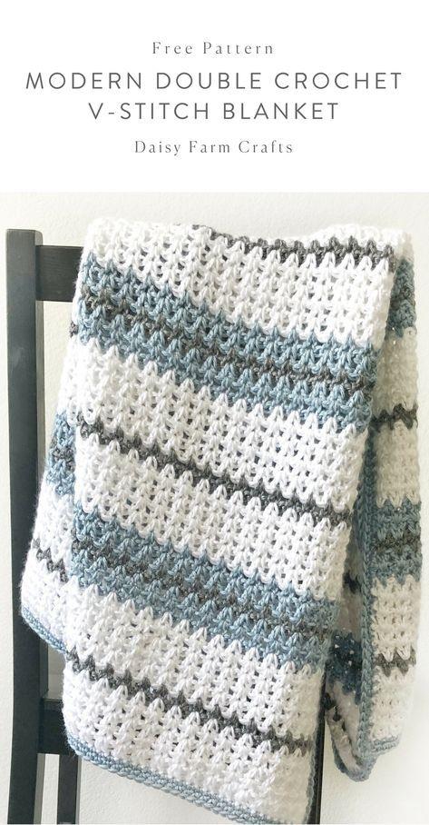 free pattern modern double crochet v stitch blanket crochet - Hakelmutzen Muster