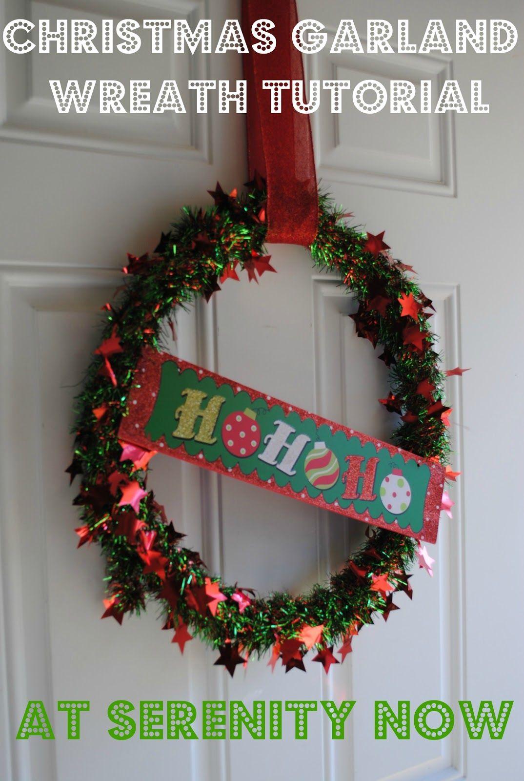 Serenity Now Christmas Tinsel Garland Wreath (Dollar Tree