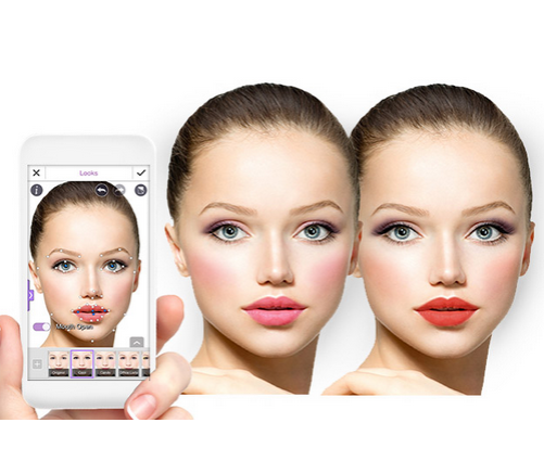 """""""YouCam Makeup,"""" a free app for iPhone/iPad/Android, shows"""