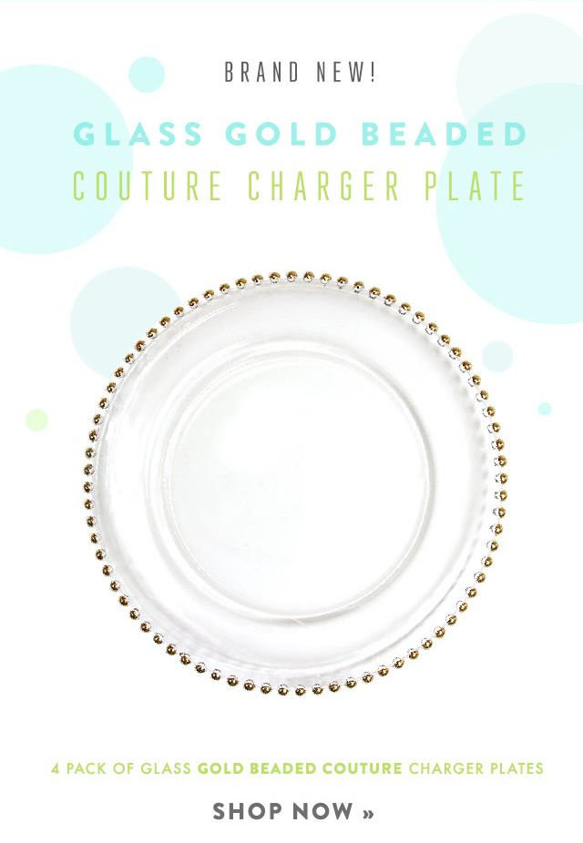 Gold beaded glass charger plates wholesale. Add elegance to your ...