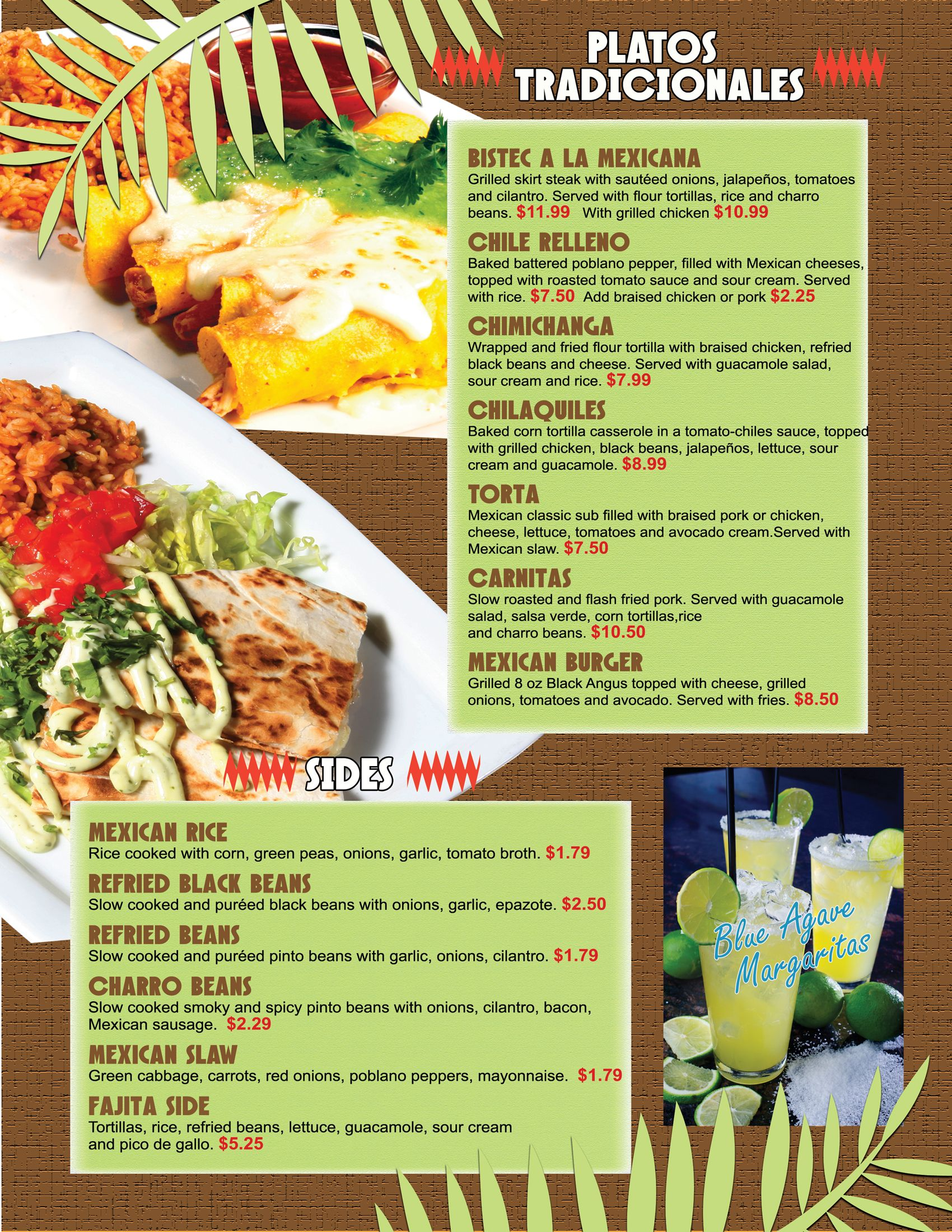 mexican restaurant menu | graphic design by: moye colquitt