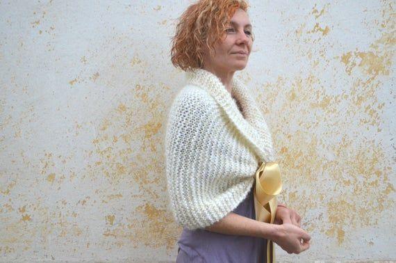 Bridal shawl, knit mohair evening scarf, braidsmaid wrap, wedding shrug, white capelet