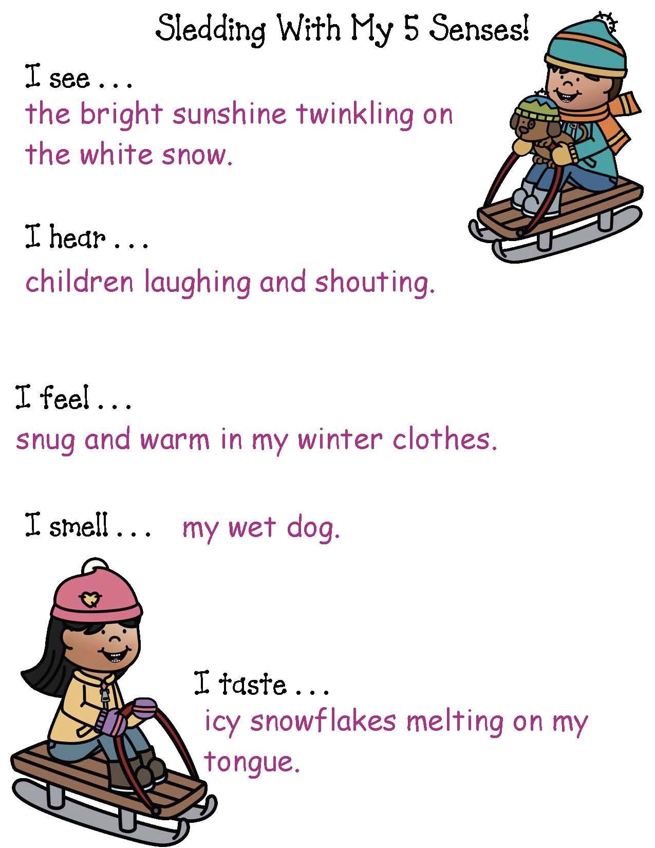 Slip Sliding Away Winter Name Sled Craft Poems