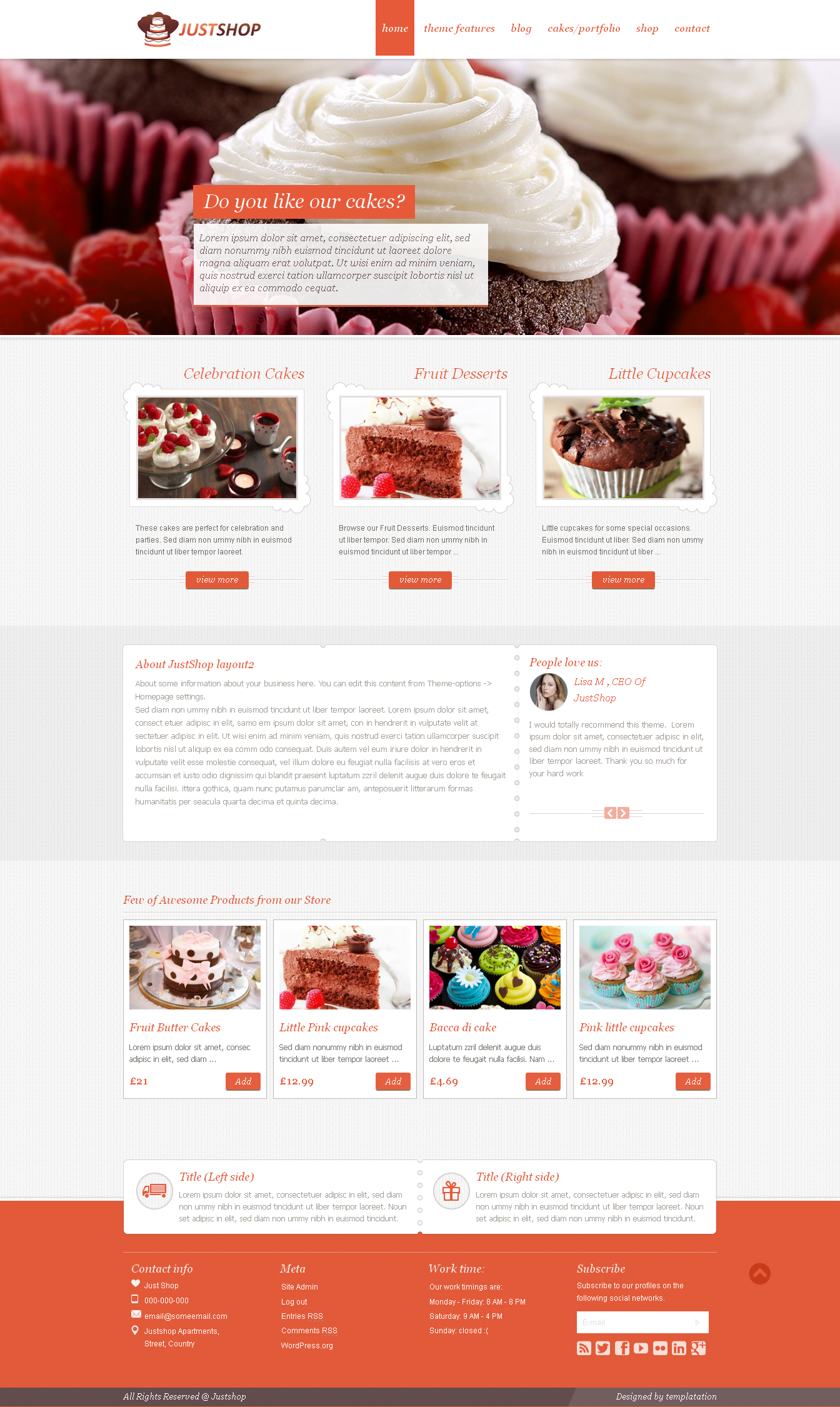 Justshop Cake Bakery WordPress Theme - Download theme here : http://themeforest.net/item/justshop-cake-bakery-wordpress-theme/4747148?ref=pxcr