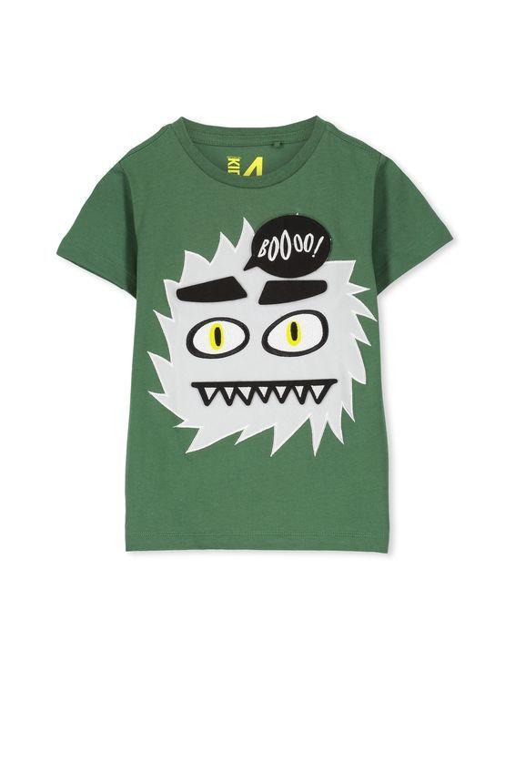 Boys Short Sleeve Halloween Tee, GABBY GREEN/MONSTER BADGES Boy - halloween t shirt ideas