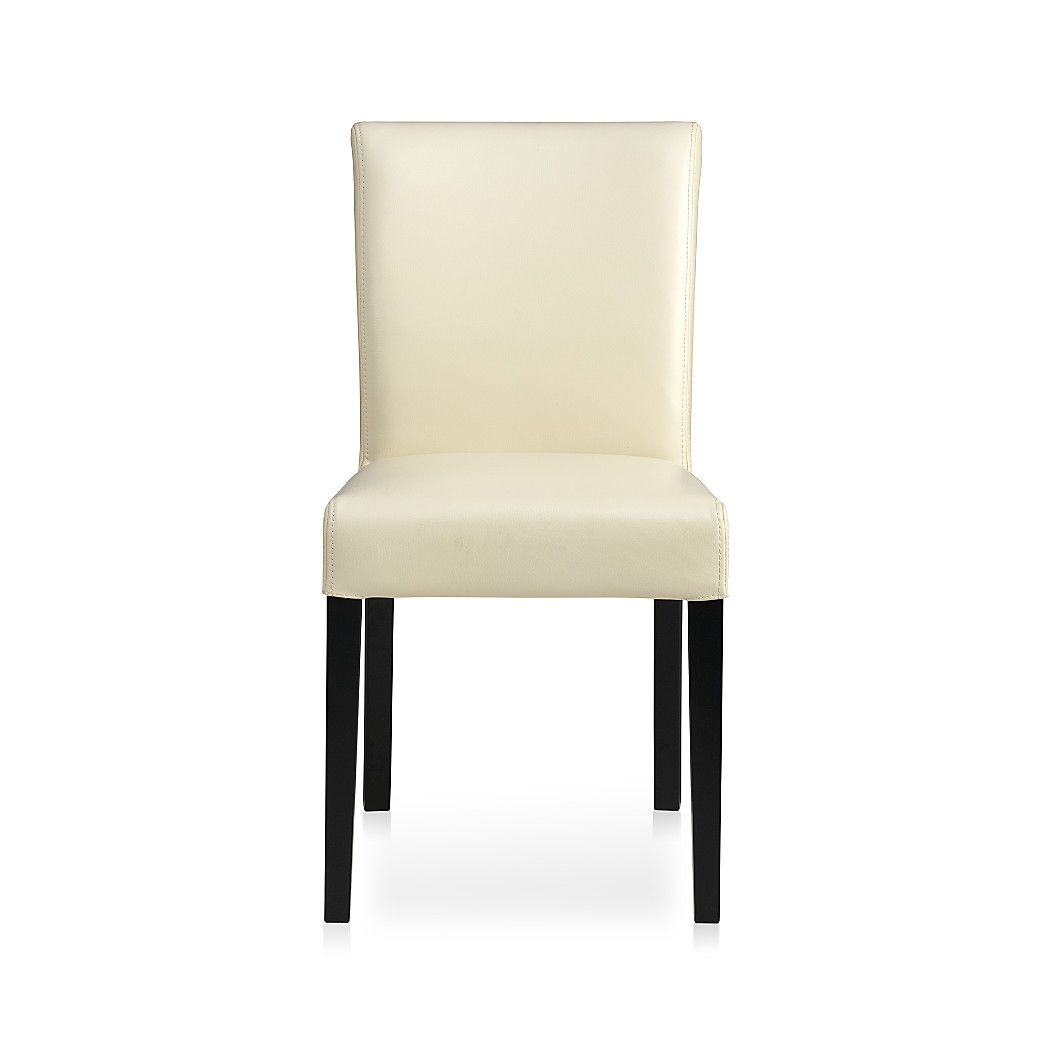 Lowe Ivory Leather Dining Chair   Crate and Barrel ...