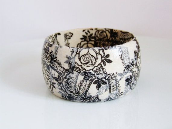 Wood Bangle Decoupage by UniquelyUJewellery on Etsy, £20.00