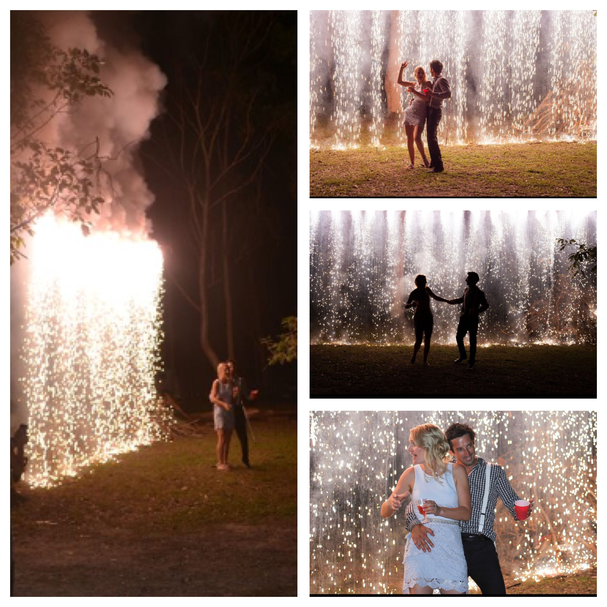 the firework waterfall creates a stunning backdrop for wedding