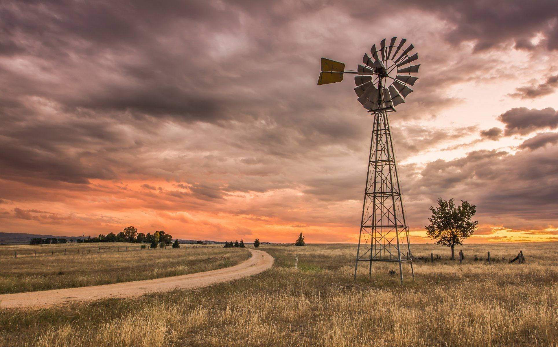 Spinning Wheel Country Australia Oconnell Rd Brewongle New South Windmill Landscaping Landscape Wallpaper Wallpaper