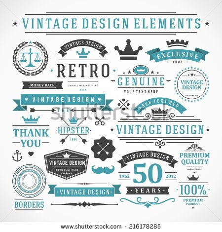 Vintage Vector Design Elements Retro Style Typographic Flourishes And Calligraphic ObjectsLabels Ribbons Symbols Tags Badges Stamps