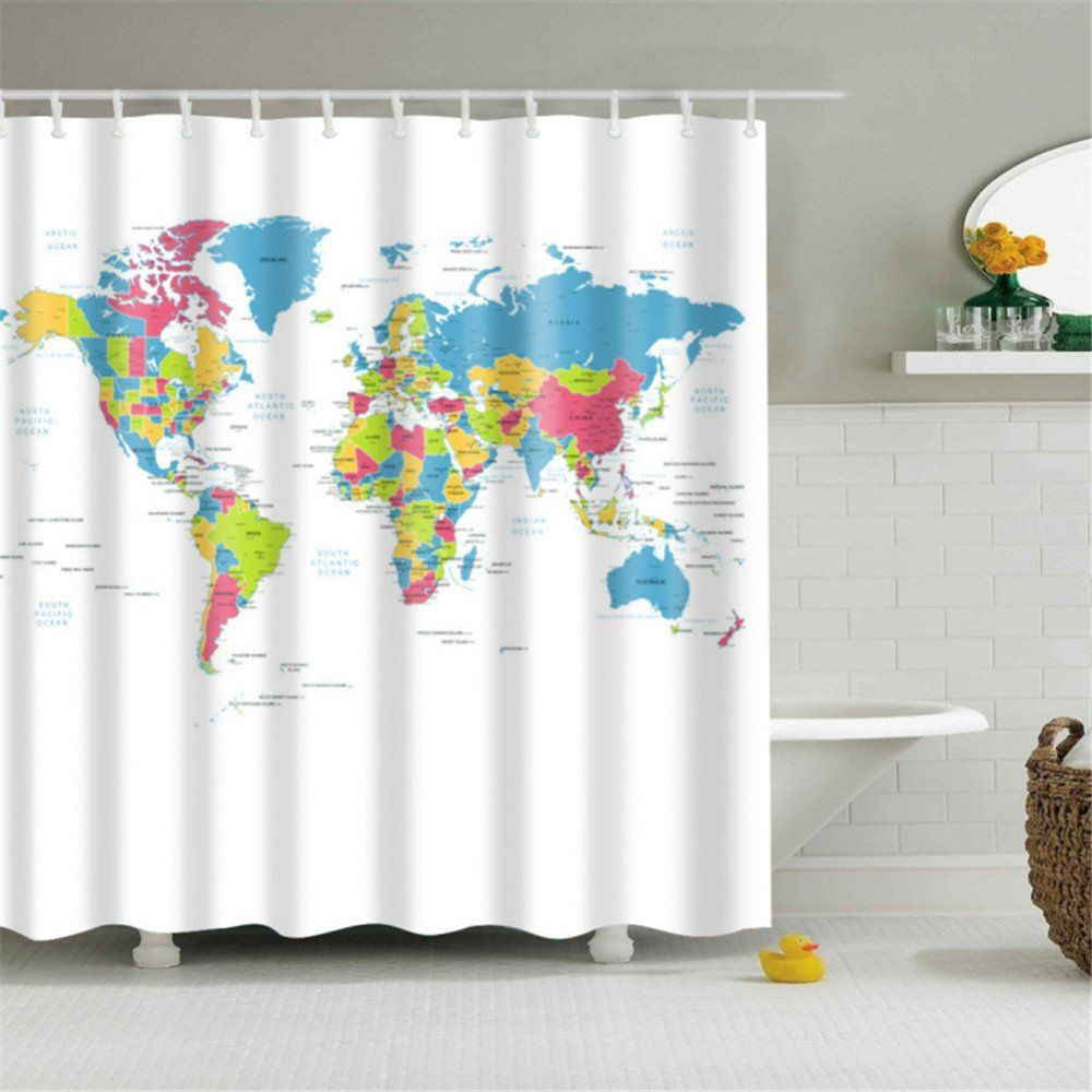 HOMEE World Map Fabric Stall Shower Curtain Water Repellent PEVA