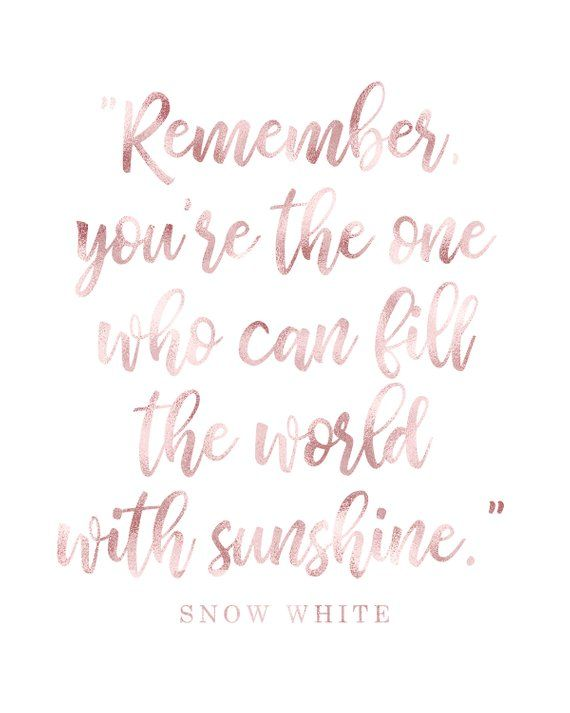 Snow White - Remember you're the one who can fill the world with Sunshine, blush shimmer, black and #snowwhite