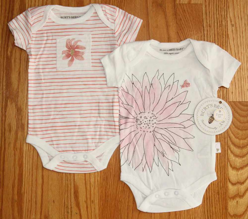 3e2e4a4cc Burt s Bees Lightweight Baby Girl Bodysuit 2 Piece ~ White   Pink ...
