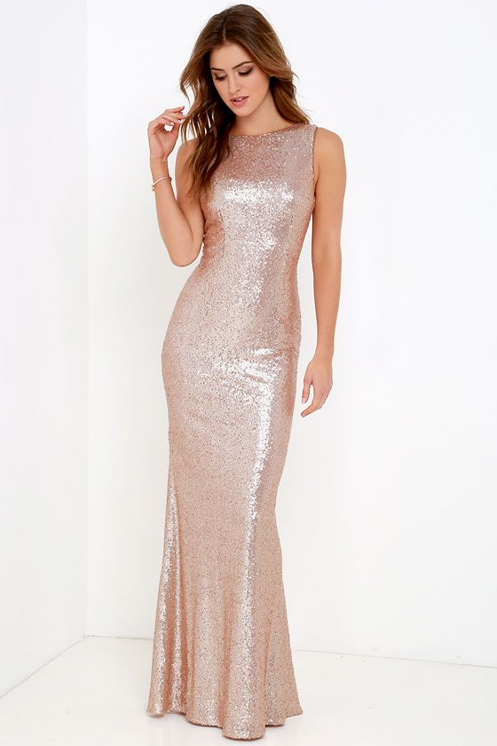 89f0e3a68d Shimmer with every step you take in the Slink and Wink Matte Rose Gold  Sequin Maxi Dress! A rounded neckline and sexy cowl back top a darted