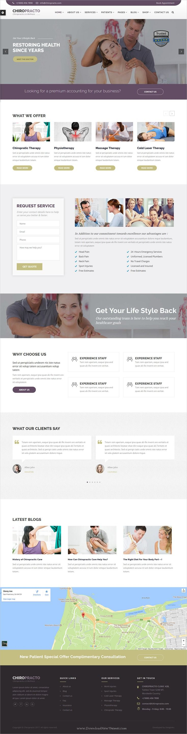 Chiropracto Is Clean And Modern Design 5in1 Responsive Wordpress Theme For Rehabilitation Healthcare Website Therapy Website Design Website Design Wordpress