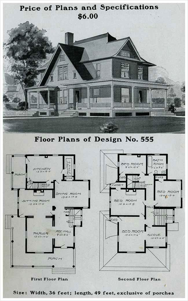 1916 Farmhouse Country Style House Plans Farmhouse Floor Plans Vintage House Plans
