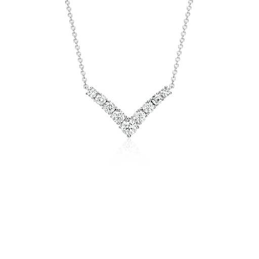 Blue Nile Mini Chevron Diamond Bar Necklace in 14k White Gold UvrFw8