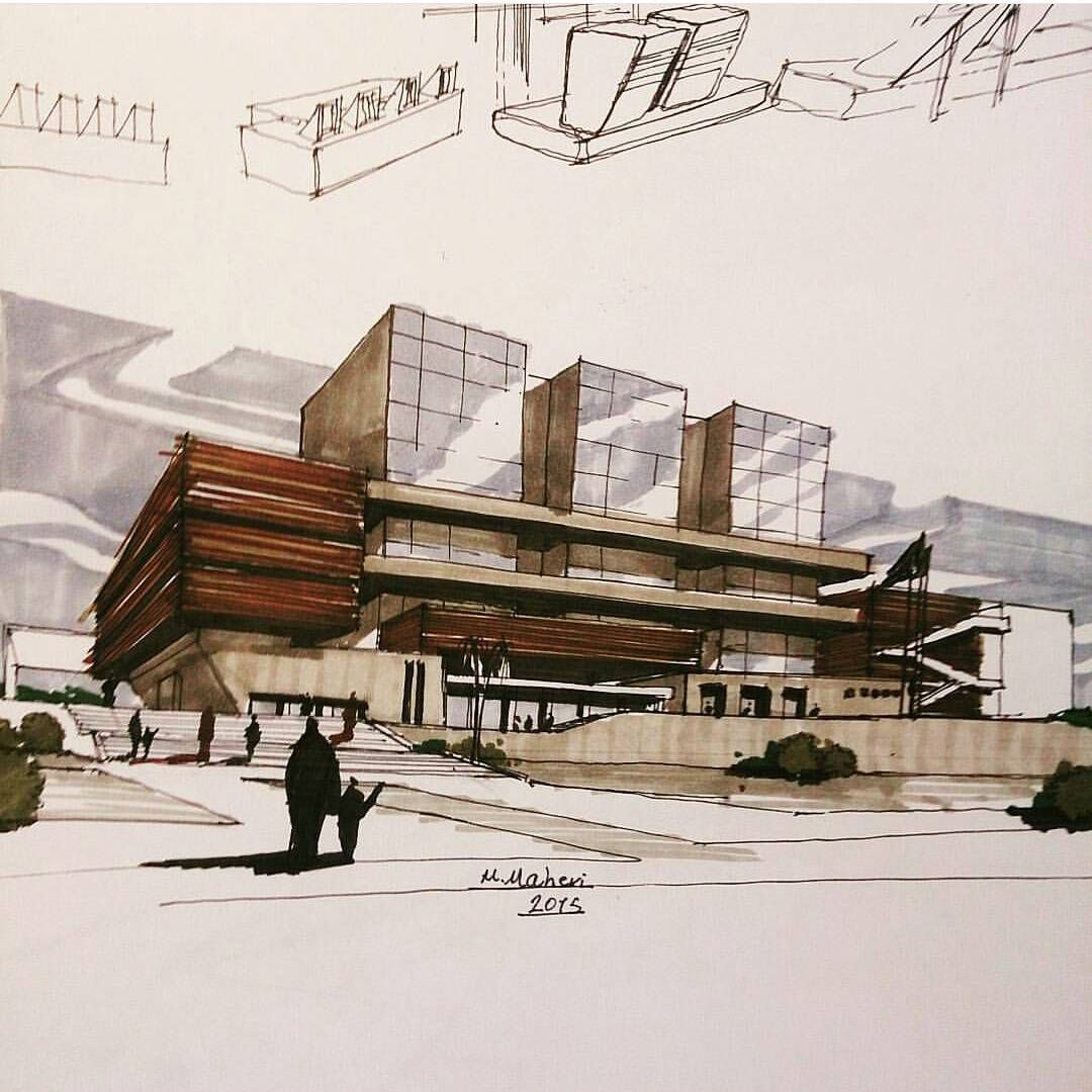 """Architecture Daily Sketches on Instagram """"By meghdad"""