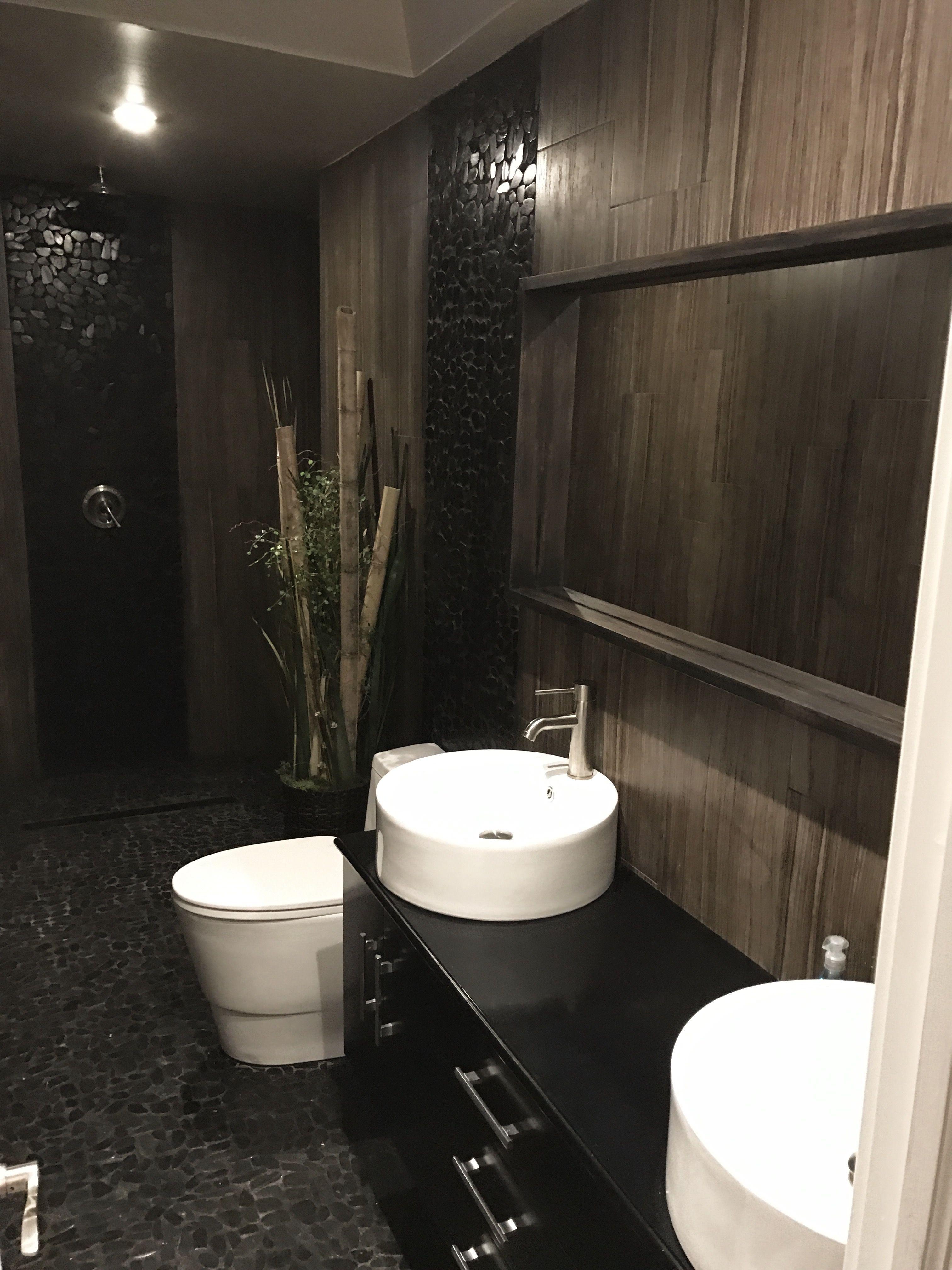 Smallnarrow Bathroom Renovation With No Shower Doors Black Pebble - Bathroom ren